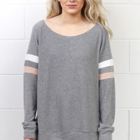 Brushed Hacci Ringer Sleeve Fleece Top {H. Grey}