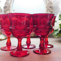 Ruby Red Water Goblets Set of 5 Westmoreland Ashburton Pattern