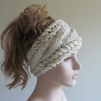 Grey Cabled Headbands Earwarmers Gray Wheat Womens Girls Accessories Headcovers Headwraps