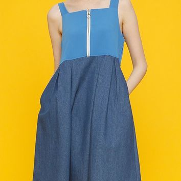 [NOIR] DENIM BLOCK DRESS