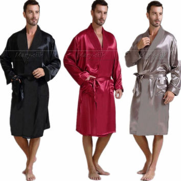 Men's Silk Satin Pajamas Sleepwear  Robe  Robes Bathrobe Nightgown  S~3XL   Big  and  Tall