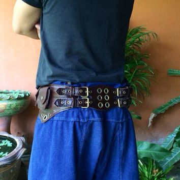 Leather Utility Belt / Pocket Belt / Festival Belt / Tech / Travel Belt - The Jedi