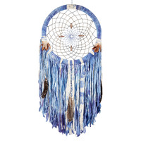 "24"" Dyed Dream Catcher, Indigo, Weavings & Hangings"