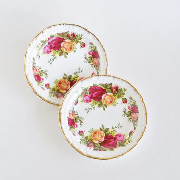 ROYAL ALBERT Old Country Roses Plates Set of 2