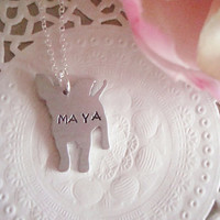 Hand Stamped Necklace With Your Choice Of Name Aluminium Chihuahua Charm