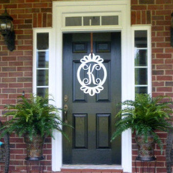 Metal Monogram Door Hanger,  monogrammed door hanger,front door wreath, monogram wreath, monogrammed letters, door decor
