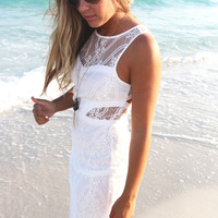 Picture This White Lace Body Con Cut Out Dress