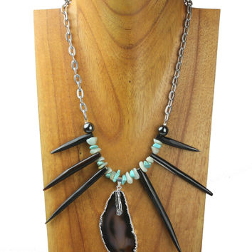 Horn necklace with horn spikes, turquoise scales and agate stone charm. NS-107