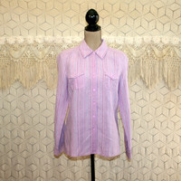 Linen Shirt Long Sleeve Blouse Button Up Womens Tops Medium Pastel Purple Lavender Pink Casual Stripe Shirt Sigrid Olsen Womens Clothing