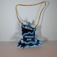 Blue mirrored acrylic candle ornament