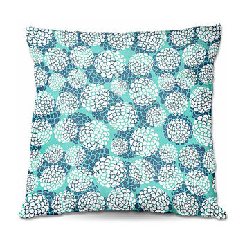 Turquoise Hydrangeas Throw Pillow – 3 Sizes Available