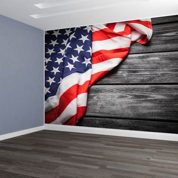 American Flag Vintage Weathered Barn Siding Custom Designed Wallpaper Peel and Stick