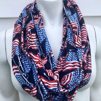 Veteran's Day Chunky Flannel Scarf-4th of July Handmade Infinity Scarf-Toddler Kid's Fourth of July Scarf-Navy Blue Flag Accessories-