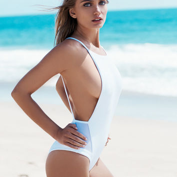 White Backless Swimsuit