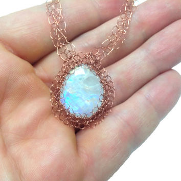 FREE SHIPPING Wire crochet necklace with genuine gemstone: Rainbow moonstone