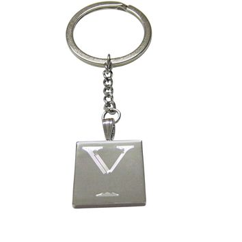 Letter Y Etched Monogram Pendant Keychain