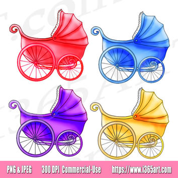 Baby Stroller Clipart, Baby Carriage Clip art, Baby Shower Clipart, Baby Girl, Party Invitations, Vintage Carriage, Scrapbooking, Commercial
