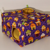 Hanging Rat Cube Hammock, Ferret Snuggle Cozy - Halloween Cupcakes with Yellow Fleece