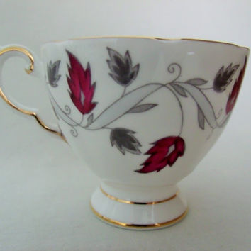 Tuscan Tea Cup and Saucer Maroon and Grey