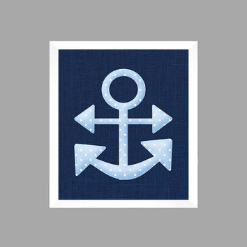 Light Blue Nautical Anchor on Navy Print, Baby Nursery Art CUSTOMIZE YOUR COLORS 8x10 Prints Nursery Decor Print Art Baby Room Decor Kids