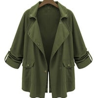 Notched Collar Long Sleeve Trench Coat