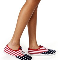 Red/White/Blue Flag Print Sneakers