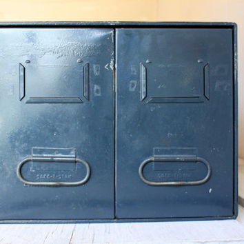 industrial metal 2 drawer file filing cabinet storage box vintage organization