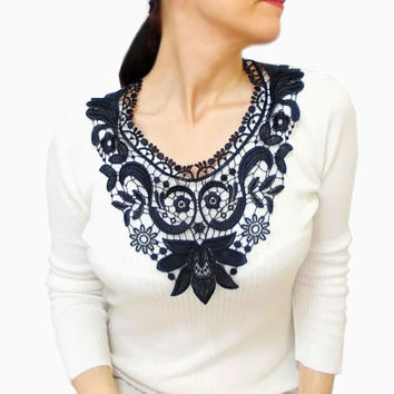 Black Victorian necklace, French Lace Statement Lace Bib Necklace, Gothic, Floral necklace, Gothic, Fashion Designer Jewelry, FREE SHIP