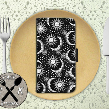 Sun And Moon And Stars Black Pattern Tumblr Inspired Cute Wallet Phone Case iPhone 4 and 4s and iPhone 5 and 5s and 5c iPhone 6 and 6 Plus +