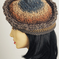 Knit beret / Women pilbox / Gray toque / Gold cloche / Beehive beanie / Ombre hat