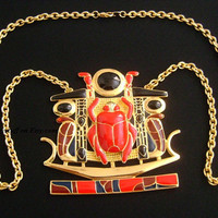 Amazing Gold Enameled Red Black Navy Blue Maroon Wine Colors Egyptian Huge Scarab Beetle Snake Cobra Pendant Chain Necklace Bold Elegance TM
