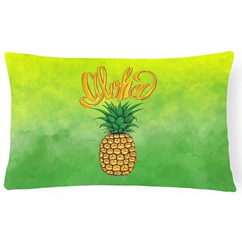 Aloha Pineapple Welcome Canvas Fabric Decorative Pillow BB7451PW1216