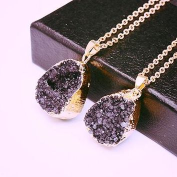 Druzy Quartz Natural Stone ~ Irregular Geode Amethyst ~ 18K Gold Plated Raw Stone Pendant  Gold black