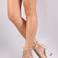 Bamboo Transparent Peep Toe Chunky Lucite Heeled Ankle Boots