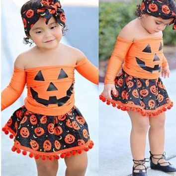 FEESHOW Kids Girls Toddler Halloween Costume Baby Cosplay Party Pumpkin Long Sleeve Square Neck Tops Tassel Skirt Headband Set
