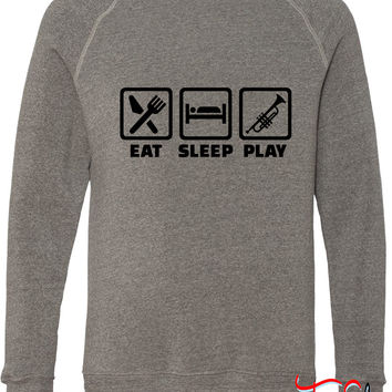 Eat Sleep Trumpet 1 fleece crewneck sweatshirt