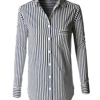 LE3NO Womens Oversized Long Sleeve Button Down Striped Boyfriend Shirt (CLEARANCE)