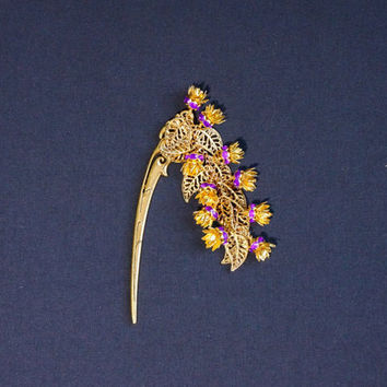 Hairstick Hair stick with violet crystal flowers Hairstick with floral charm Asian style hairstick Gift for her Metal hair stick gold tone