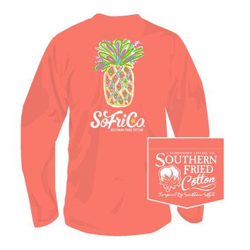 Pina Colada Long Sleeve Tee in Summer Sunset by Southern Fried Cotton
