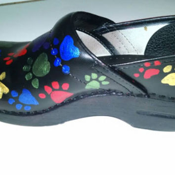 PAW PRINT Hand painted Clogs Dansko or Sanita Dog Cat Vet Pet Shoes