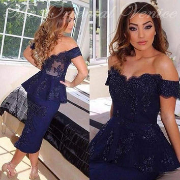 Navy Blue Off the Shoulder Robe de Cocktail Party Dresses 2017 Aabic Mermaid Tea Length Short Prom Dress Robe De Soiree