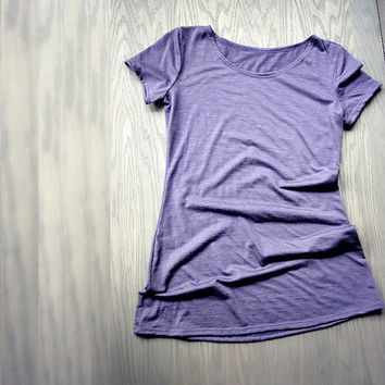 Dusty grape merino wool fitted tee shirt - more colors