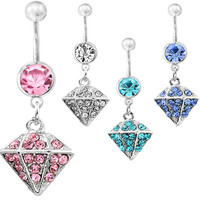 New Charming Dangle Crystal Navel Belly Ring Bling Barbell Button Ring Piercing Body Jewelry = 4804934532