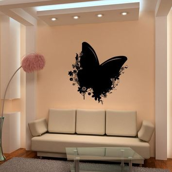 Vinyl Wall Decal Sticker Butterfly and Flowers #1148