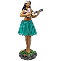 Leilani Hula Dashboard Doll - Girl with Ukulele and Green Skirt