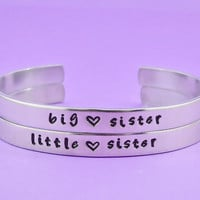 big sister / little sister - Hand Stamped Aluminum Cuff Bracelets Set, SIsters Bracelets, Personalized Gift