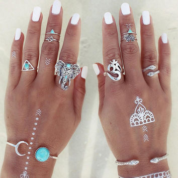 8pcs/Pack Boho Retro Elephant Snake Blue Turquoise Rings Lucky Stackable Midi Rings Set of Rings for Women Party Free Shipping