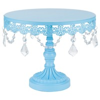 10 Inch Crystal-Draped Round Metal Cake Stand (Blue)