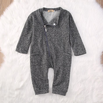 newborn baby boys girls clothing sets  Kids Baby Boy Girls Side zipper Romper Jumpsuit Bodysuit Clothes Outfits 0-2Y