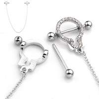 High Quality Stainless Steel Handcuffs Cubic Zirconia Crystal Nipple Shield Silvery Sexy Nipple Piercing Jewelry For Girl Women